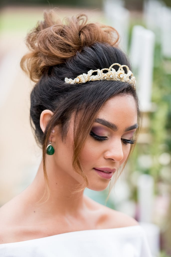 Bun-and-Tiara Hairstyles with Tiara for Glam and Fab Look