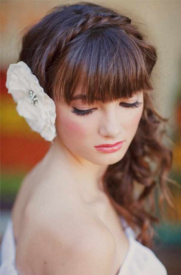 Chestnut-Curly-Hair-with-Bangs-and-Braided-Headband Most Beautiful Wedding Hairstyles with Bangs