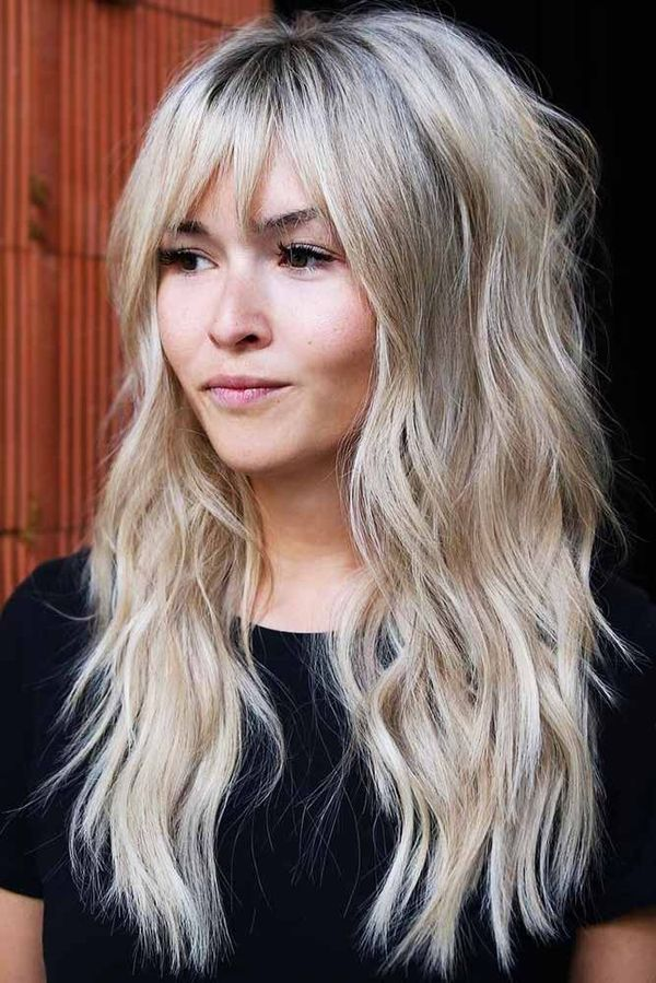 Chopped-Bangs-with-Wavy-Hair Modern Shag Haircut for Utter Stylish Look