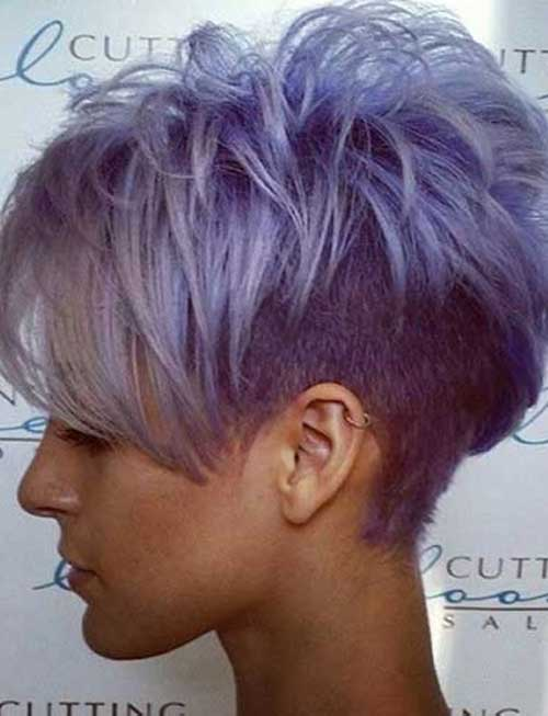 Cute-Short-Grey-Purple-Layered-Hair-for-Girls Cute Short Hair Cuts For Girls
