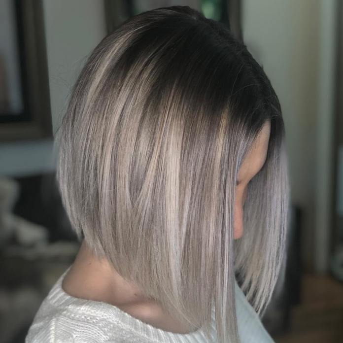 Deep-Angled-Silver-Blonde-Bob Short Hair Trends for Stylish and Gorgeous Look