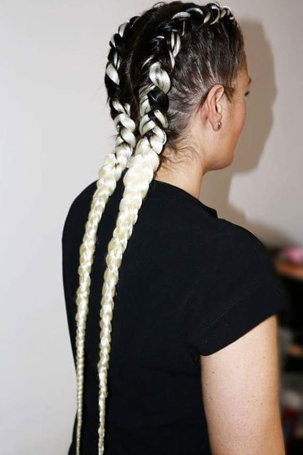Dutch-Braid-Highlighted-Hair Most Beautiful Black Hairstyles with Highlights