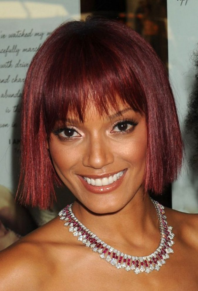 Edgy-Bangs-Bob-Hairstyle Bob Hairstyles for Black Women for Rocking Look