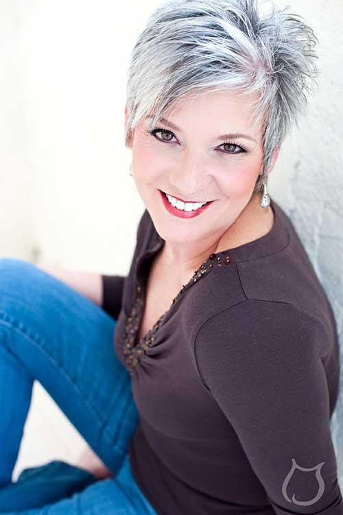 Gorgeous-Grey-Pixie-Haircut-for-Women Pixie Hair Styles for 2020