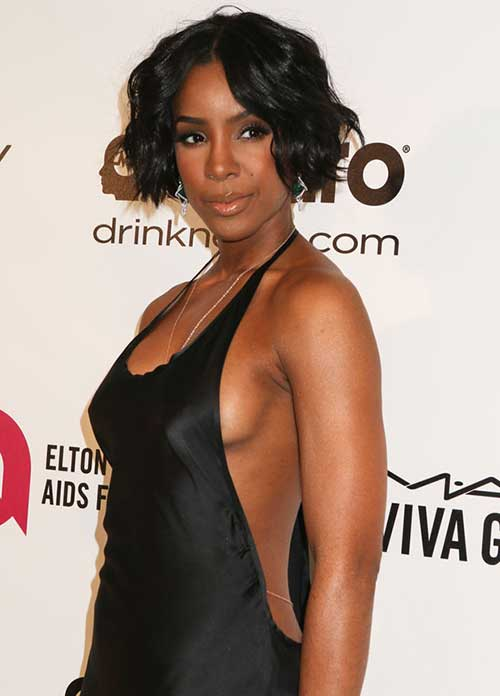 Kelly-Rowland's-Short-Wavy-Hairstyle Short Trendy Hairstyles 2020