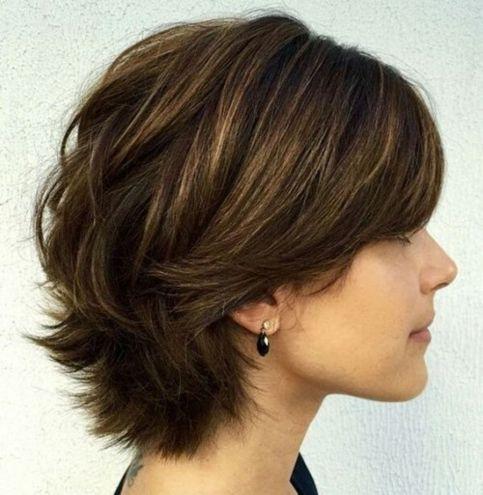 Layered-Short-Hairstyle 12 Glamorous Bob Haircuts for Fine Hair