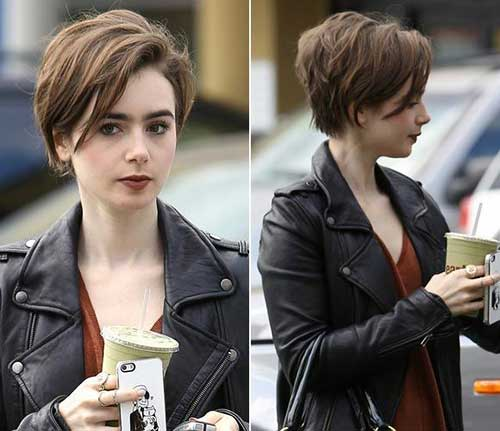 Lily-Collins-Brown-Short-Hair Best Short Hair Cuts For Women