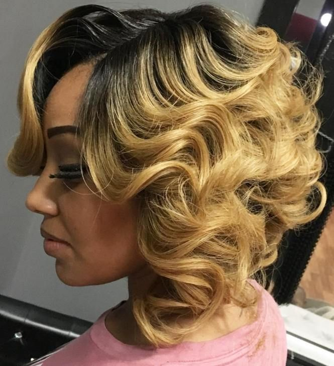 Long-Curly-Bob-with-Blonde-Highlights Bob Hairstyles for Black Women for Rocking Look