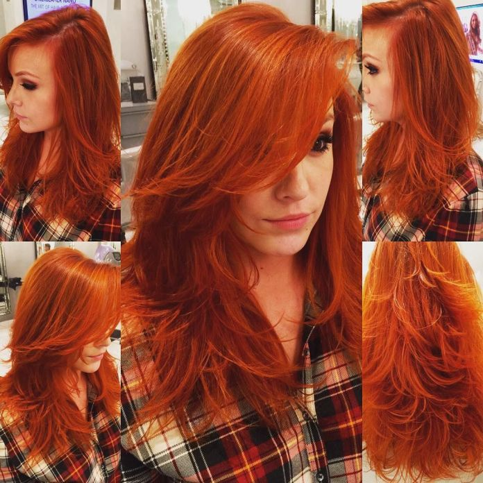 Long-Layered-Hair Redhead Hairstyles for Sultry and Sassy Look
