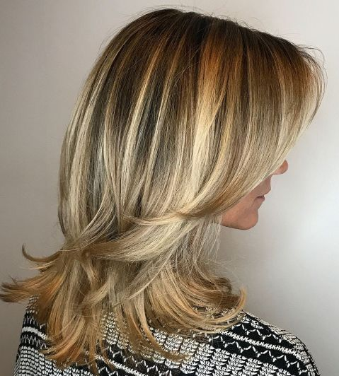 Medium-Blonde-Hairstyle-with-Flicked-Ends Shoulder-length hairstyles, the most popular hairstyle
