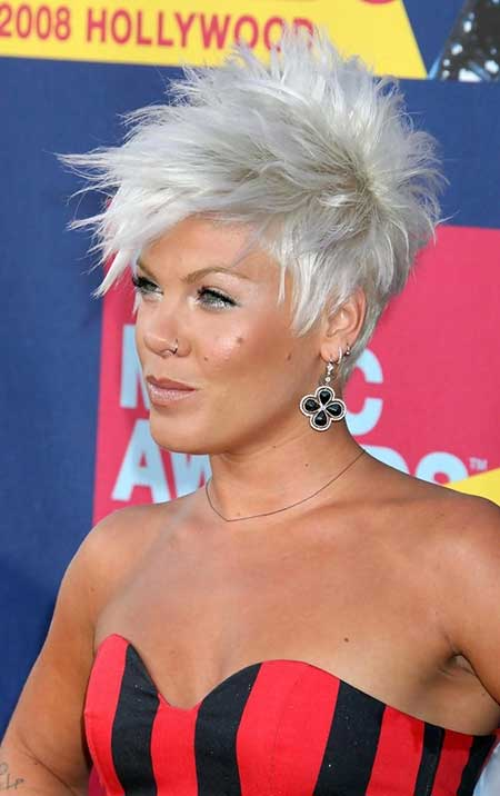 Platinum-Silver-Spiked-Interesting-Look Short hair color ideas