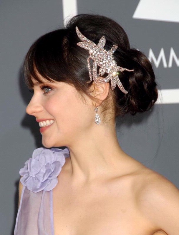Puffed-Back-Bun-with-Bangs-and-Silver-Hair-Accessory Most Beautiful Wedding Hairstyles with Bangs