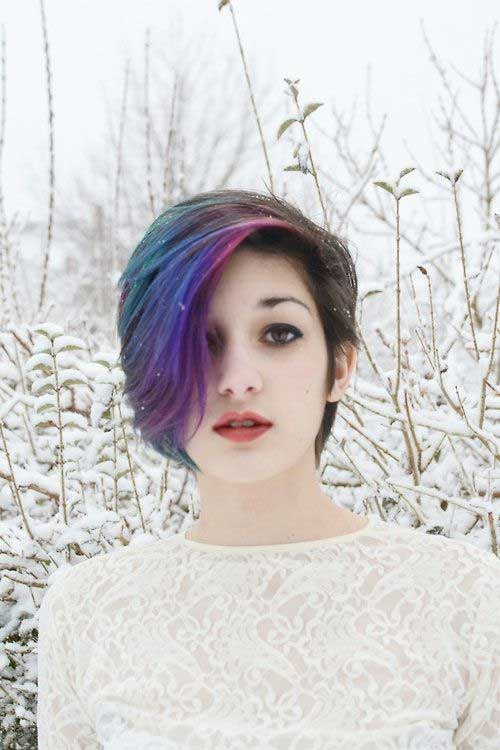 Purple-Blue-All-Over-Dark-Hair-Style Short Hairstyle Color Ideas