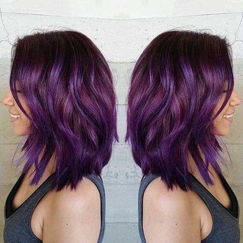 Purple-Short-Wavy-Hair-for-Women Best Short Hair Cuts For Women