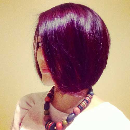Red-Voilet-Colored-Hair-Style Short Hairstyle Color Ideas