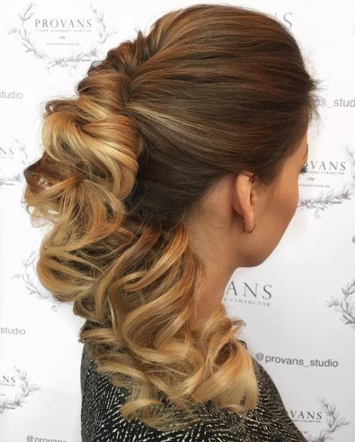 Romantic-Twisted-Hairdo 10 Glamorous curly ponytails you must try