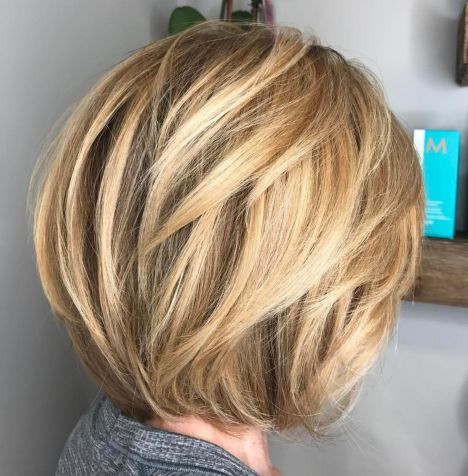 Rounded-Layered-Bob Short Haircuts For Thick Hair