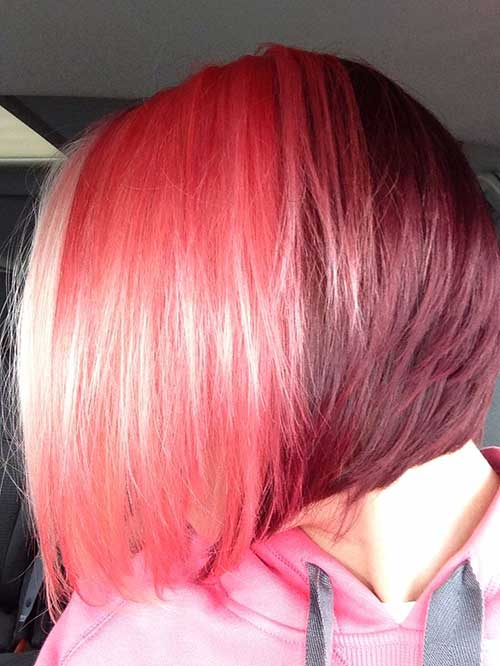 Shiny-Cherry-Colored-Bob-Hair-Style Short Hairstyle Color Ideas