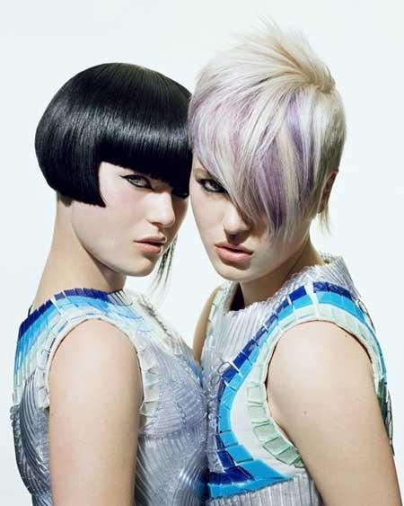 Short-Blonde-Purple-Highlights Short hair color ideas