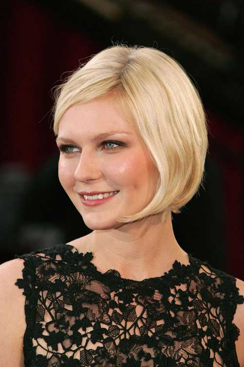 Short-Blonde-Straight-Bob-Hairstyle-with-Side-Swept-Bangs Short Bob Hairstyles With Side Swept Bangs
