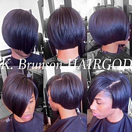 Short-Blunt-Bob-Black-Hair-with-Side-Bangs Black Girl Bob Hairstyles