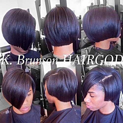 Short-Blunt-Bob-Black-Hair-with-Side-Bangs Black Girl Bob Hairstyles