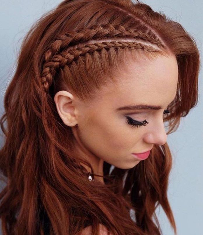 Side-Braided-Long-Hair Redhead Hairstyles for Sultry and Sassy Look