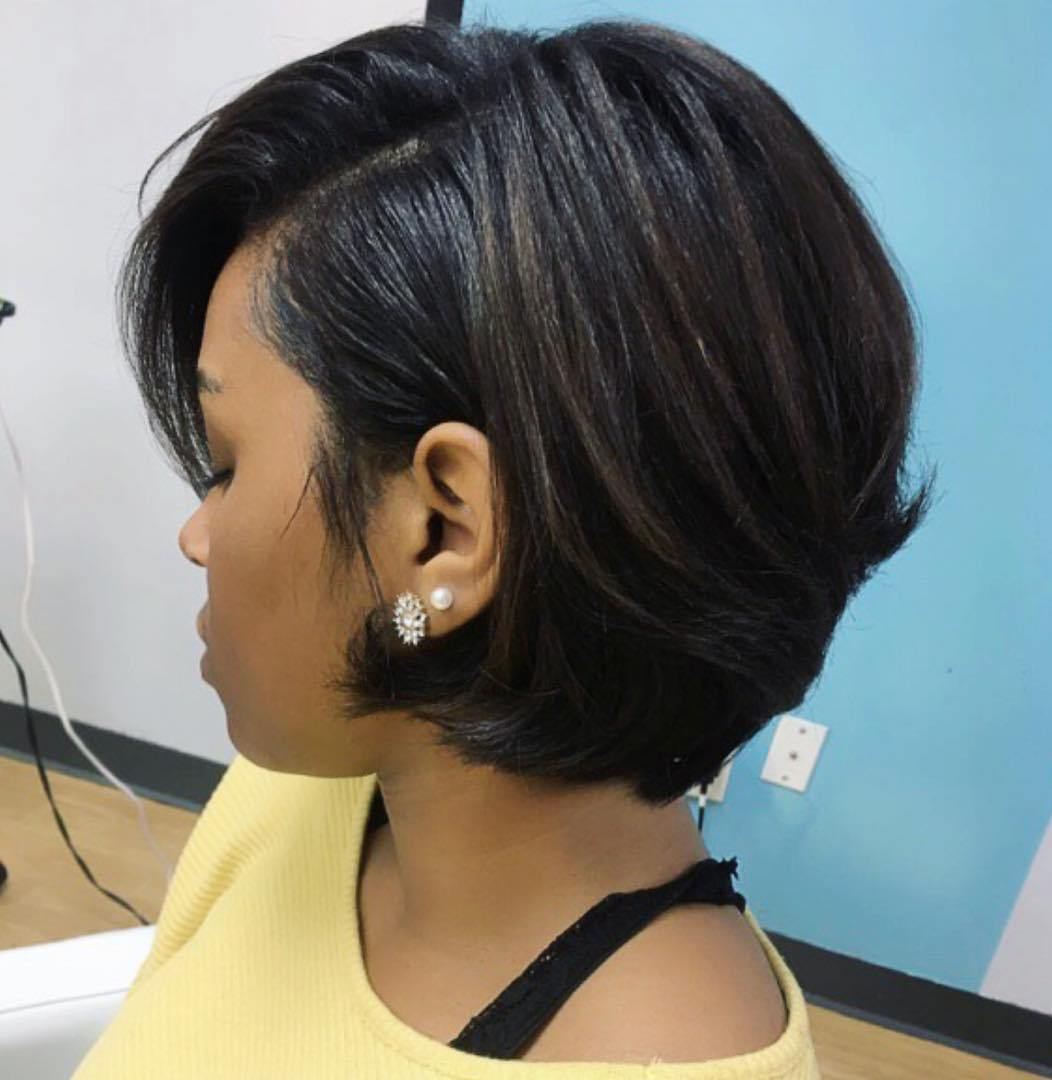 Side-Parted-Short-Brunette-Hairstyle Bob Hairstyles for Black Women for Rocking Look