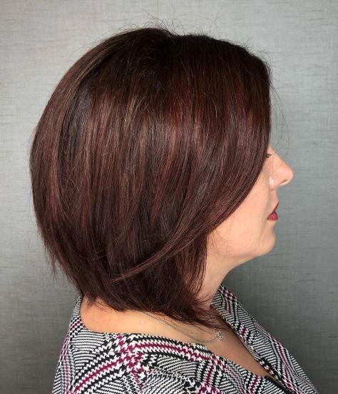 Sleek-Dark-Reddish-Brown-Bob Short hair – Perfect choice for women over 40