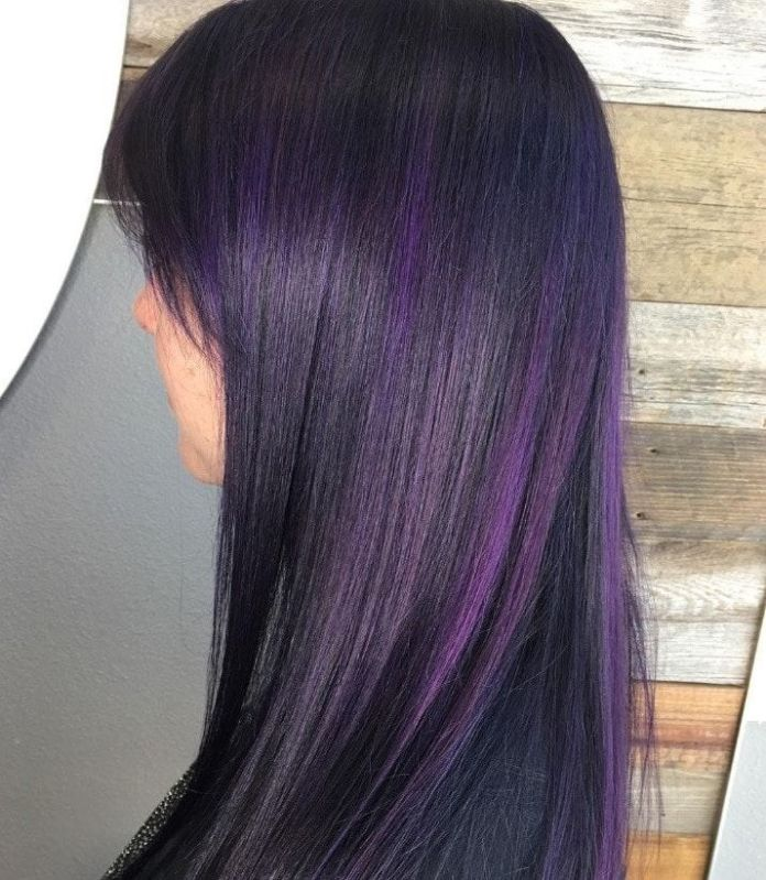 Straight-Purple-Highlights-on-Black-Hair Most Beautiful Black Hairstyles with Highlights
