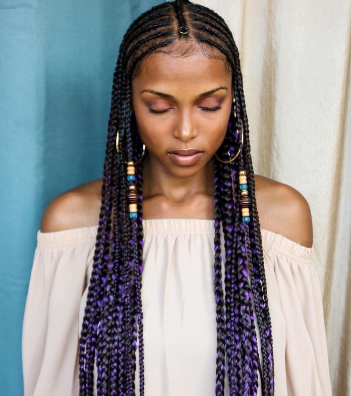 Thin-Braids-with-Beads Tribal Braids for Super Trendy Appearance