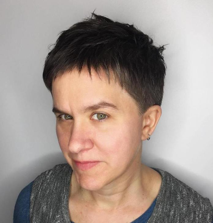 Ultra-Short-Pixie-with-Baby-Bangs Gorgeous Hairstyles and Haircuts for Women Over 40
