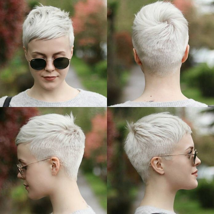 Ash-Blonde-Pixel-Cut Roaring and Attractive Short Hairstyles 2020