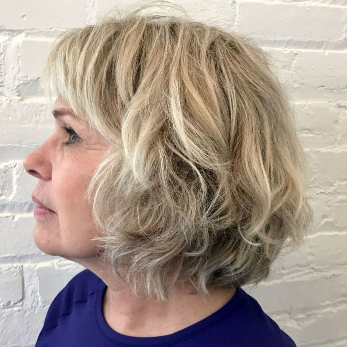 Banged-Layered-Bob-for-Wavy-Hair Shaggy Hairstyles for Women with Fine Hair over 50