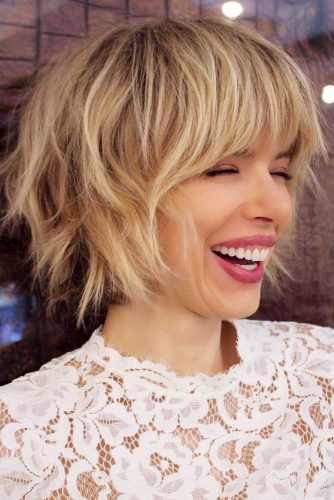 Blonde-Balayage-On-A-Shaggy-Bob 12 Best Short Haircuts For 2020
