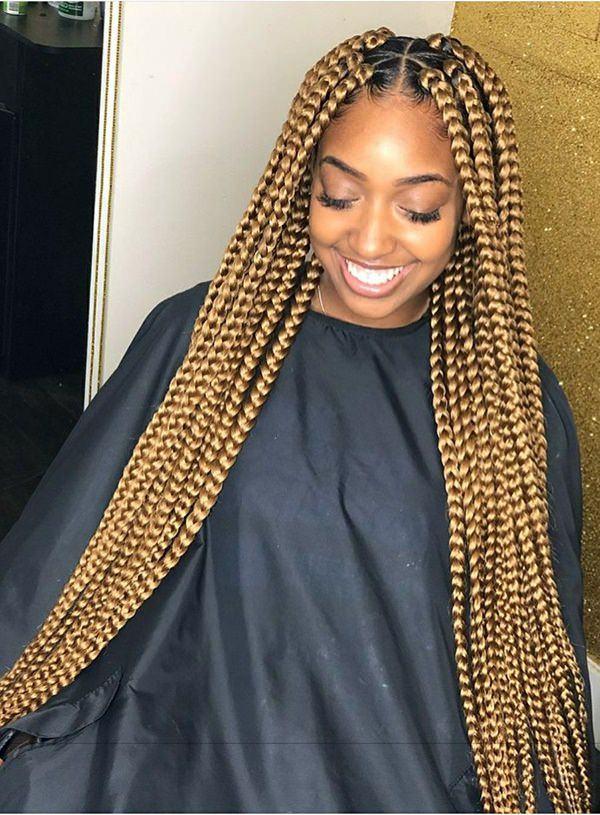 Blonde-Triangle-Braids Endearing Jumbo Box Braids to Look Amazing