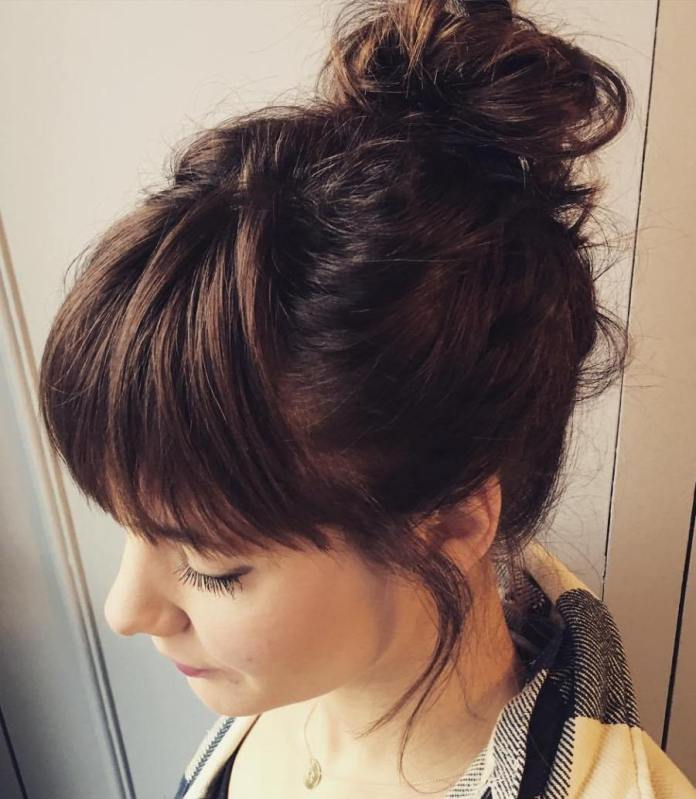 Bun-with-Bangs Quick and Easy Short Hair Buns to Try