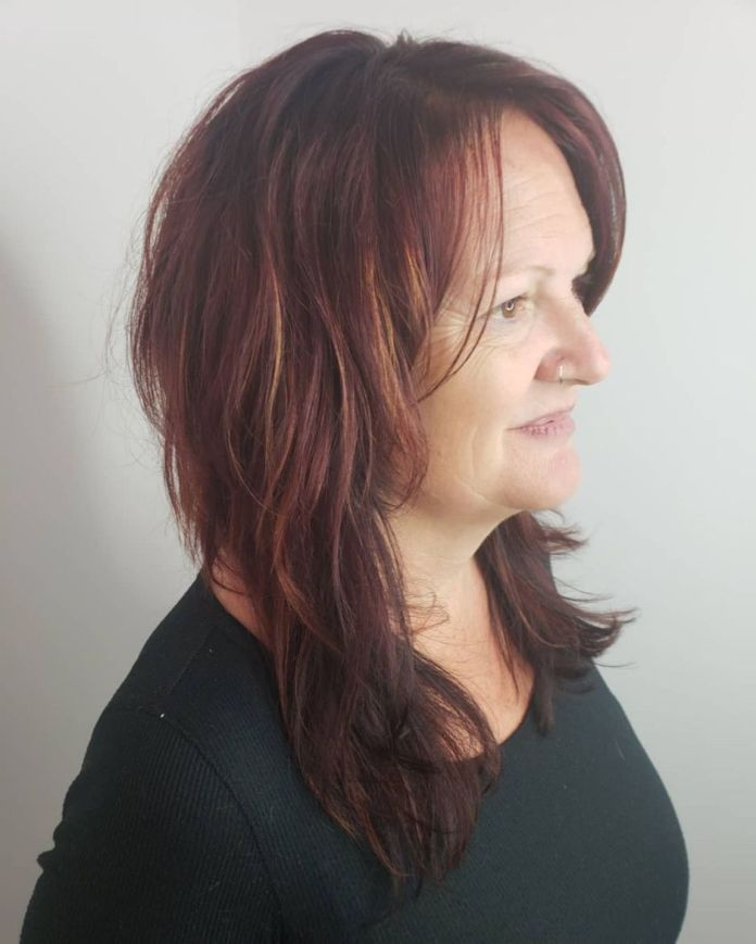 Casual-Long-Shag-with-a-Middle-Part Shaggy Hairstyles for Women with Fine Hair over 50