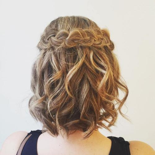 Curled-Hair-with-a-Crown-Braid 15 eye-catching Prom Hairstyles for Short Hair