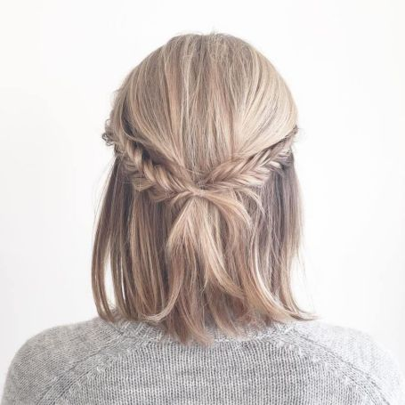 Fishtail-Braid-and-Bob Best Trendy Half-up, Half-Down Hairstyles you must try.