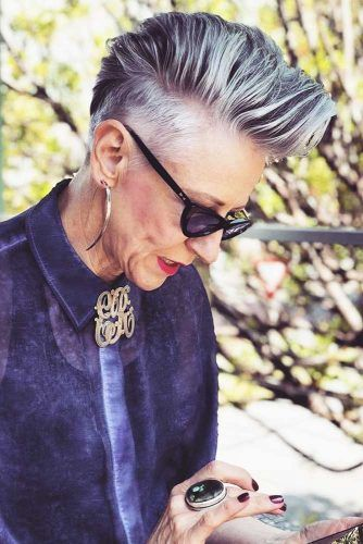 Grey-Pixie-With-Undercut Elegant Pixie Hairstyles For Women over 50