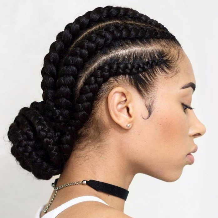 Low-Bun-Feed-in-Braids Natural Hairstyles for Black Women to Enhance Your Look