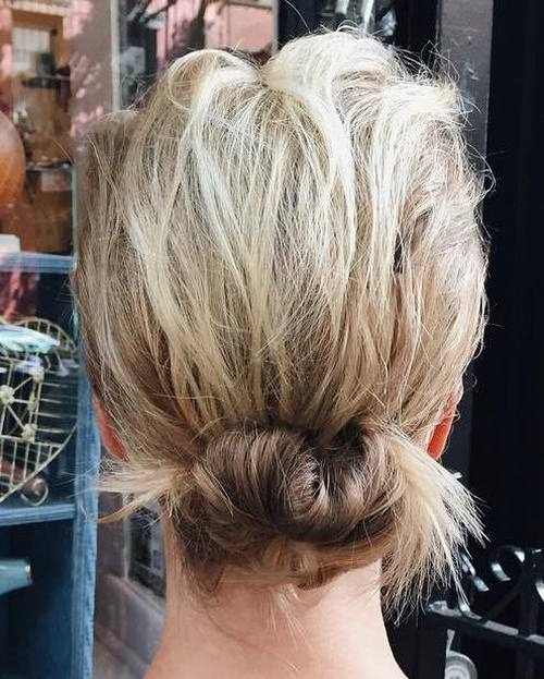 Messy-Twisted-Bun Quick and Easy Short Hair Buns to Try