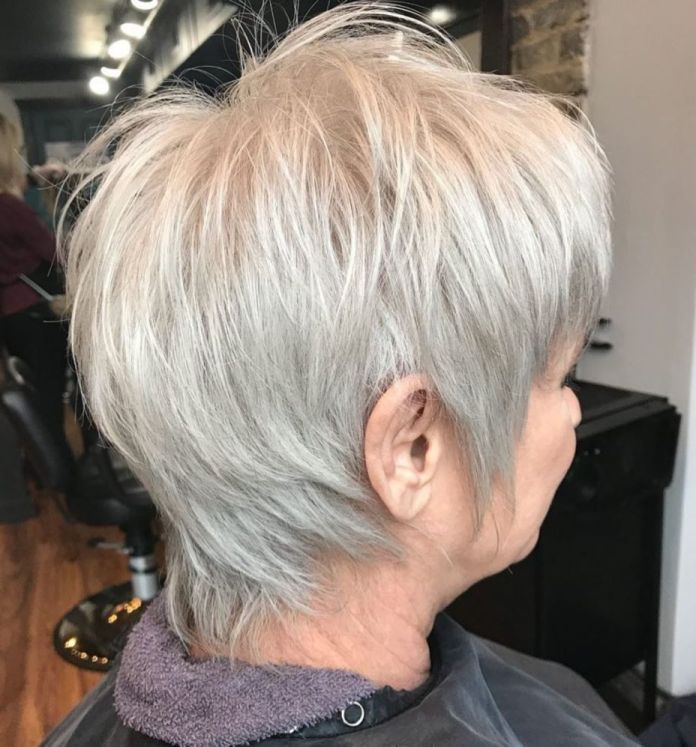 One-Color-Silver-Pixie-with-Choppy-Layers Shaggy Hairstyles for Women with Fine Hair over 50