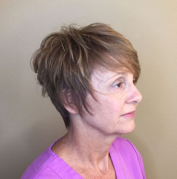 Pixie-Shag-with-Crown-Volume-and-Long-Sideburns Shaggy Hairstyles for Women with Fine Hair over 50