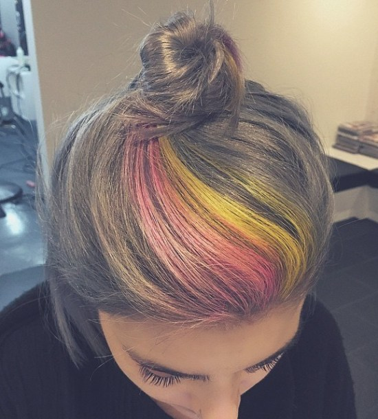 Rainbow-Bun- Quick and Easy Short Hair Buns to Try