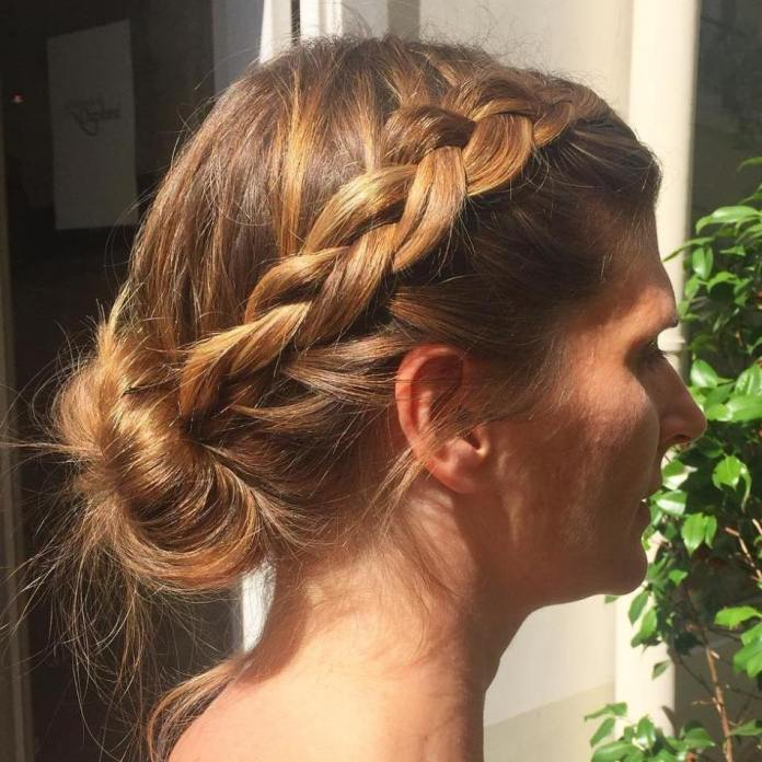 Romantic-Braid-Bun-Crown- Quick and Easy Short Hair Buns to Try