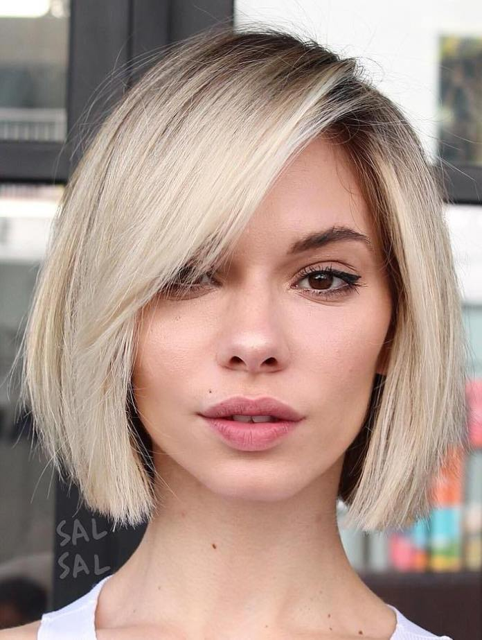 Short-Blunt-Blonde-Bob 15 Graceful Hairstyles for Fine Straight Hair