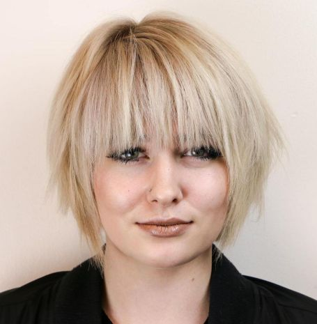 Short-Chopped-Bob-with-Straight-Bangs 14 ideas of short haircuts for round faces