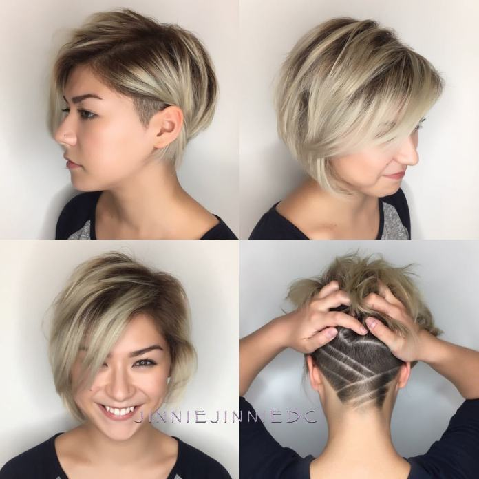 Short-Layered-Bob-with-Nape-Design. 15 Graceful Hairstyles for Fine Straight Hair